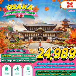 ทัวร์ญี่ปุ่น โอซาก้า เกียวโต ทาคายาม่า ฤดูใบไม้เปลี่ยนสี ช้อปปิ้ง (OSAKA AUTUMN IN MY HEART) [OCT] 5วัน 3คืน บิน AIR ASIA X